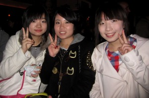 Mia, Eunice, Vicky---Library Project fundraiser, Feb. 25, 2011, Xi'an