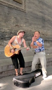 A bird pooped on my shoulder & this kind guy wiped it away. We sang & people took pics. One of my favorite music memories