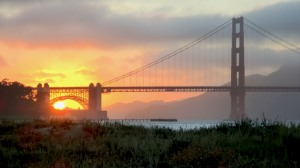 Golden Gate at sunset, August 9, 2011